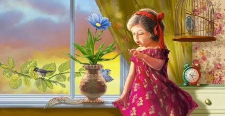 девочка с цветком-1